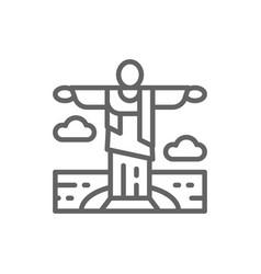 statue christ redeemer brazil landmark vector image