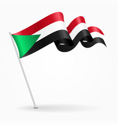sudan pin wavy flag vector image