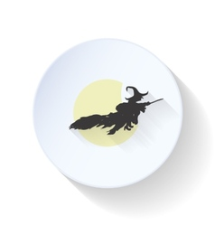 The witch flies on a background of the moon flat vector image