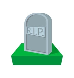 Tombstone with RIP cartoon icon vector image