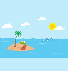 Tropic island with palm and parasol in the middle vector