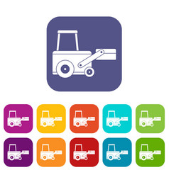 Truck to lift cargo icons set flat vector