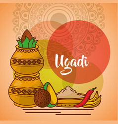 Uappy ugadi template greeting card set ccessories vector