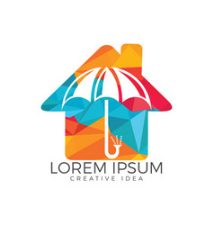 Umbrella house logo home insurance sign icon vector