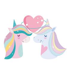 unicorns rainbow mane love heart stars cartoon vector image