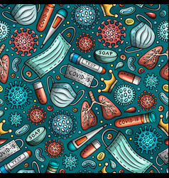 viruses hand drawn doodles seamless pattern vector image