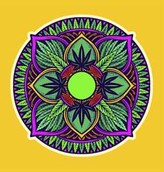 weed leaf mandala trippy tapestry vector image