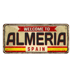 Welcome to almeria vintage rusty metal sign vector
