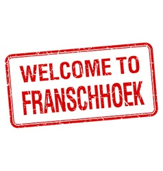welcome to Franschhoek red grunge square stamp vector image vector image
