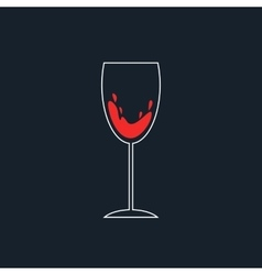 white and red simple wineglass icon vector image