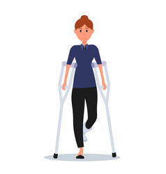 Woman with broken leg flat vector