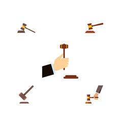 flat icon hammer set of hammer crime tribunal vector image vector image