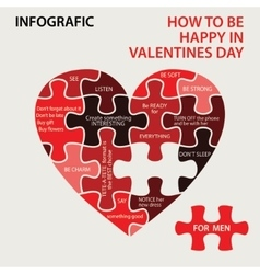Heart pazzle How to be happy in Valentines day vector image vector image