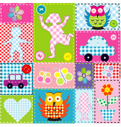 patchwork for kids with childish elements vector image vector image