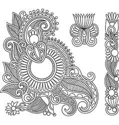 black flower doodle design elemen vector image vector image