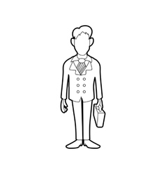 Businessman with briefcase icon in outline style vector image