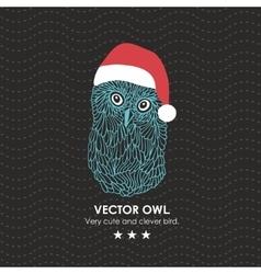 Cute owl in santa hat vector image