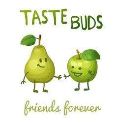 Green apple and pear with leaf characters Cartoon vector image