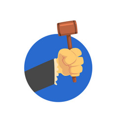 hand holding judges gavel wooden hammer of judge vector image