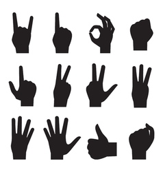Hands black silhouette icons vector image