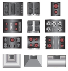 kitchen equipment Electric stove top view set 4 vector image vector image