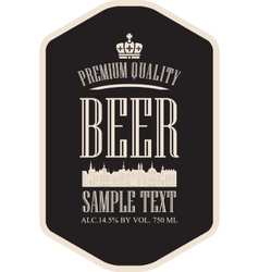label beer with the old town vector image vector image