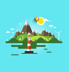lighthouse flat design nature scene ocean or sea vector image vector image