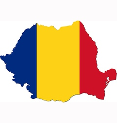 Map of Romania with national flag vector image vector image