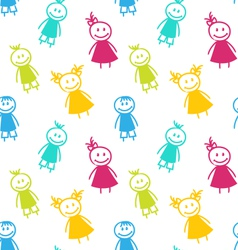 Seamless Background with Smiling Girls and Boys vector image vector image