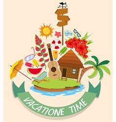 Vacation theme with cabin and beach objects vector image vector image