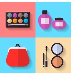Cosmetic and Makeup flat Icons Set vector image vector image