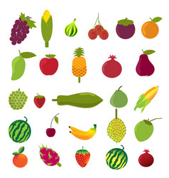 flat design fruits icon set vector image