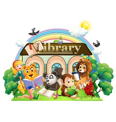 Animals reading in front of the library vector image vector image