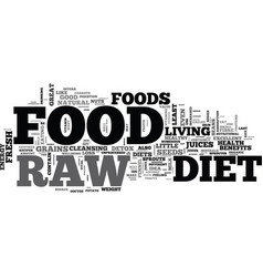 b raw food diet b text word cloud concept vector image vector image