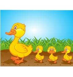 cute family duck cartoon vector image vector image