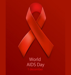 hiv awareness red ribbon world aids day concept vector image vector image