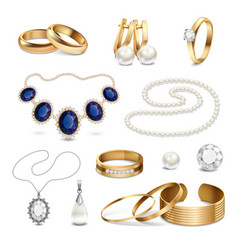 Jewelry Accessories Realistic Set vector image
