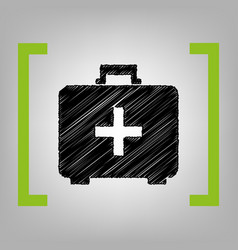 medical first aid box sign black scribble vector image