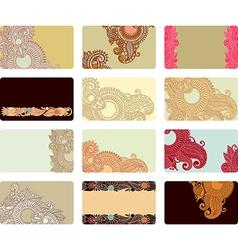 ornate floral business card set vector image