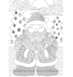 santa coloring in vector image