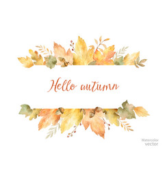 watercolor autumn banner of leaves and vector image