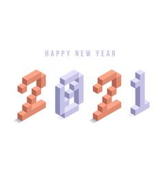 2021 new year isometric art minimal holiday vector image