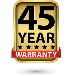 45 year warranty golden label vector image