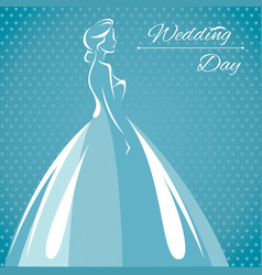 a silhouette of a bride vector image
