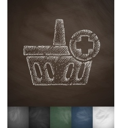 add to basket icon Hand drawn vector image