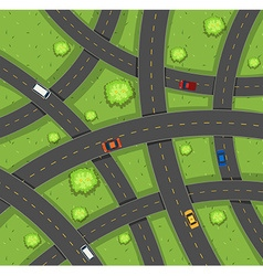 Aerial view of cars on roads vector
