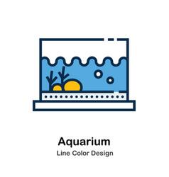 Aquarium line color icon vector