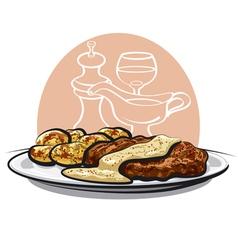 baked pork vector image