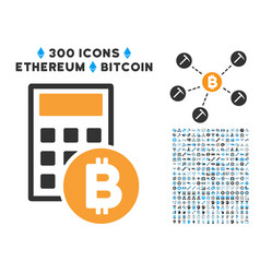 Bitcoin calculator flat icon with vector