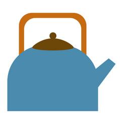 Blue kettle flat on white vector